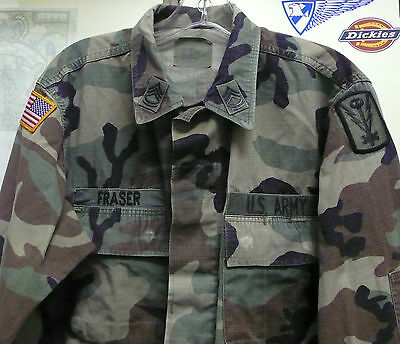 Us Army Woodland Camo Bdu Shirt W Patches 501St Mil Intelligence Small Short
