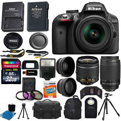 Nikon D3300 Black DSLR Camera w/ 18-55mm VR + 70-300mm + 32GB Top Value Bundle