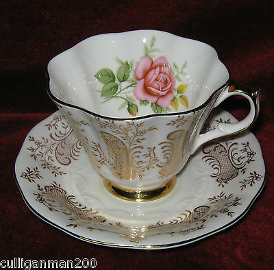 1 - Queen Anne Pink Rose and Gold Tea Cup and Saucer (2015-060)