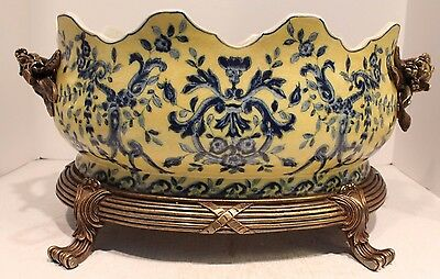 Elegant Yellow and Blue Porcelain Scallop Foot Bath Heavy Brass Ormolu Accents