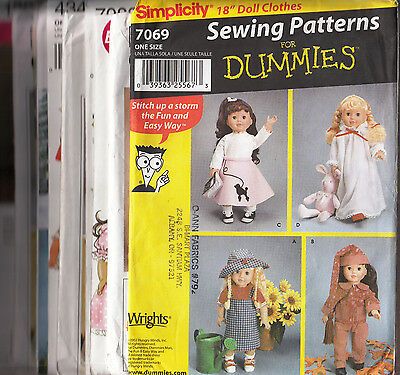 """Your Choice 18"""" Doll Patterns Simplicity & McCall's $3.99 Each"""