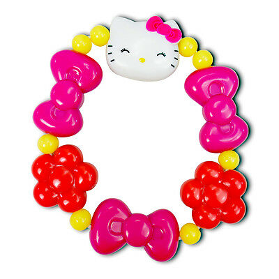Sanrio Hello Kitty Smiling Face With Light Purple Bow Red Flower Bracelets New