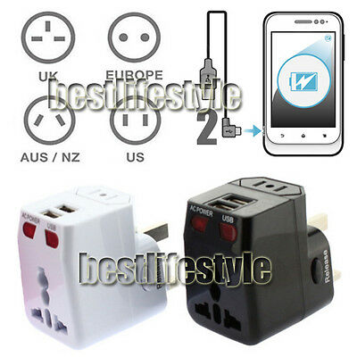 Universal World Travel Electric Adapter 2 USB Port Charger Adaptor EU UK US AU