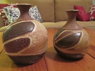 """Two Vintage Decorative """"Hand Made"""" Multisurface Jugs -by RFuccestad 1977"""