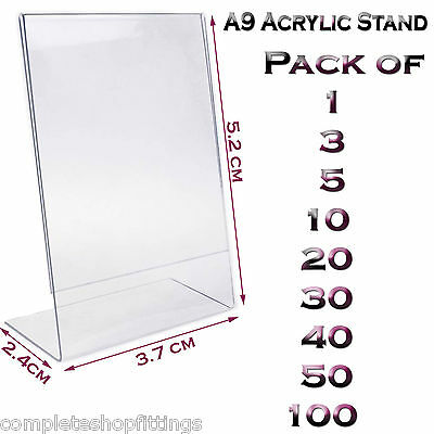 New A9 Acrylic Portrait Poster Menu Holder Perspex Leaflet Display Stands