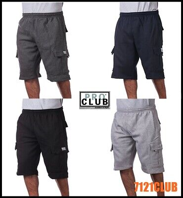 PRO CLUB FLEECE CARGO SHORTS Men's Heavyweight Joggers Sweat Pants Pockets S-7XL