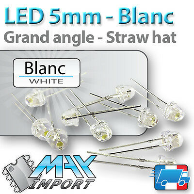 10 à 100 x LED blanches 5mm - Grand angle (white blanc straw hat)