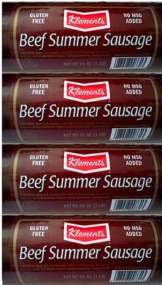(4 x 3 Pounds) Klement's BEEF SUMMER SAUSAGE SMOKED, TOTAL 12 Pounds
