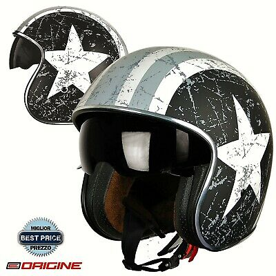 Casco Bandit Origine Rebel Star Grey Opaco - Moto Custom America Visiera Scura