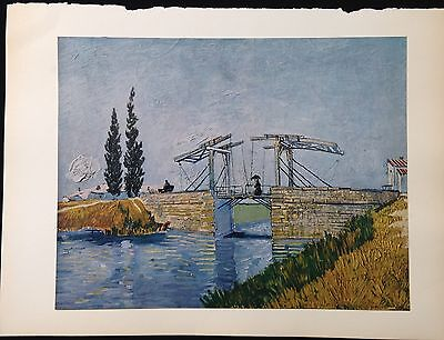 """1950 Vintage Full Color Art Plate """"THE DRAWBRIDGE"""" by VAN GOGH LOVELY Lithograph"""