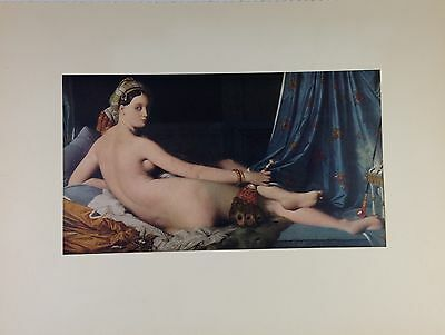 """1955 Vintage Full Color Art Plate """"ODALISQUE"""" by INGRES Lithograph NUDES"""