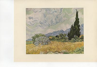 "1955 Vintage ""WHEAT FIELD w/ CYPRESSES"" VAN GOGH Full Color Art Plate Lithograph"