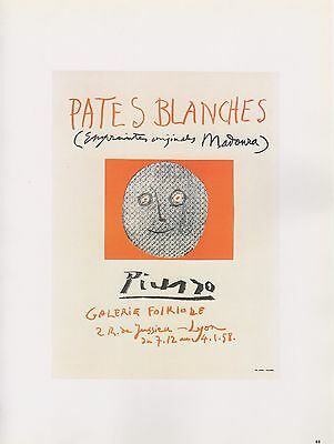 "1989 VINTAGE  ""PATES BLANCHES"" LYONS WHITES PICASSO Color offset Lithograph"