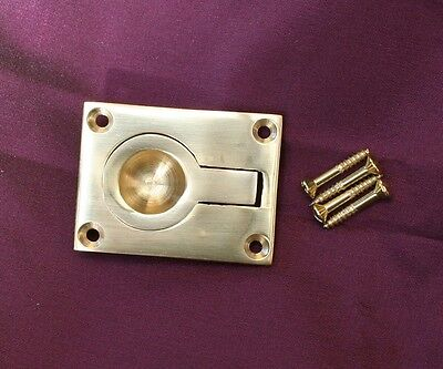 LARGE SOLID BRASS FLUSH FITTING RING PULL HANDLES 62mm x 50mm With Screws