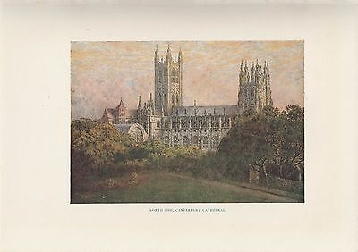"1914 Antique Color Plate ""North Side Canterbury Cathedral"" England 100 years old"
