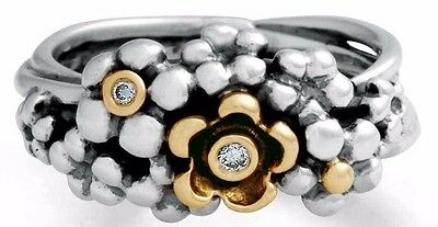 Womens Pandora Sterling Silver 14K Gold & Diamond Flower Ring Size 7