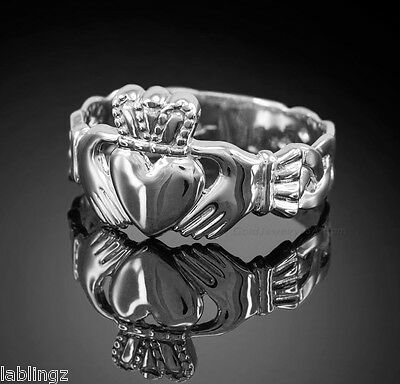 Sterling Silver Men's Claddagh Ring Irish Celtic Trinity Band