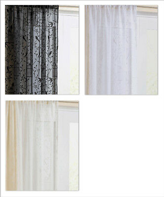 Nightingale Voile Curtain Panel Vintage Bird cages Slot Top / Rod Pocket