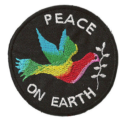 Ecusson patche Peace on Earth thermocollant patch brodé Paix colombe Rond