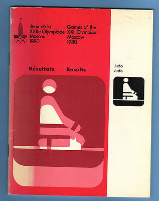 Official Results    XXII.Olympic Games MOSKAU 1980  -  JUDO  !!    VERY RARE