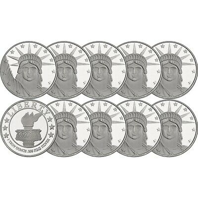 Silvertowne Lady Liberty 1 oz .999 Fine Silver Round - LOT of 10