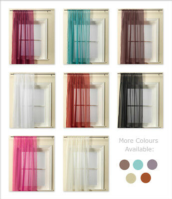 Plain Voile Curtain Panel Slot Top / Rod Pocket Various Colours
