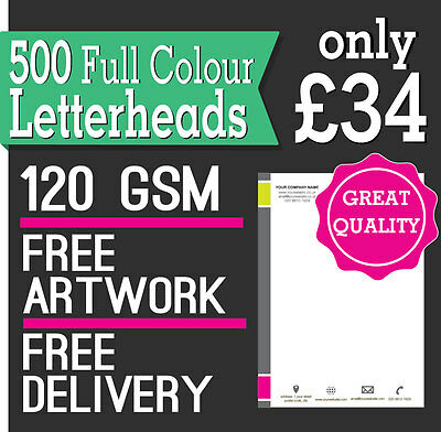 500 Letterheads / Invoices A4, Full Colour, 120 GSM smooth paper, Free Delivery