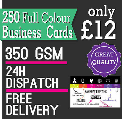 250 Business Cards, FULL COLOUR, 24h Dispatch