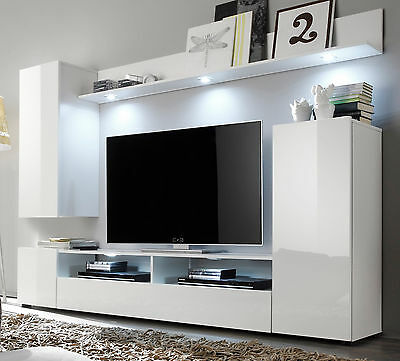 wohnwand wei hochglanz wohnzimmer tv hifi m bel medienwand fernsehschrank dos eur 269 99. Black Bedroom Furniture Sets. Home Design Ideas