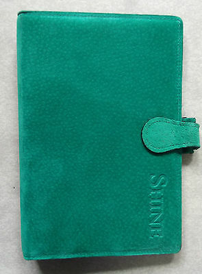Suede Leather File NEW LONDON ORGANISER COMPANY GREEN STANDARD PERSONAL DIARY