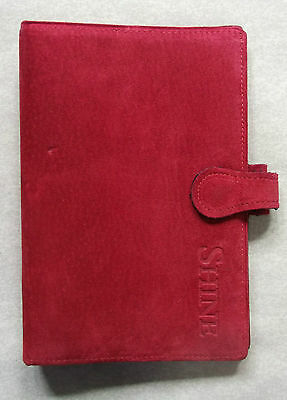 Suede Leather File NEW LONDON ORGANISER COMPANY RED REAL STANDARD PERSONAL DIARY