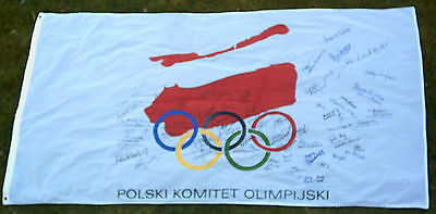 Orig.flag   Poland Olympic Comittee // with 68 Orig.signatures - 90th Years  !!