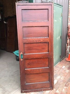 Rd 14 Antique Single Flat Panel Pine Pocket Door