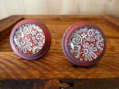 2 RED-WHITE LACE GLASS DRAWER CABINET PULLS KNOBS VINTAGE DISTRESSED hardware