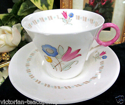 SHELLEY TEA CUP AND SAUCER FLORAL WITH PINK RING TEACUP