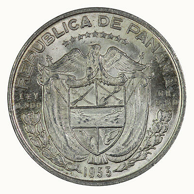 Panama 1953 One Tenth 1/10 Balboa Coin Brilliant UNC