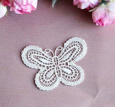Four pieces white butterfly sewing applique