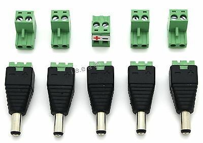 Male DC Power Plug Jack Adapter CCTV Power Cable Connector 5.5mm x 2.1mm