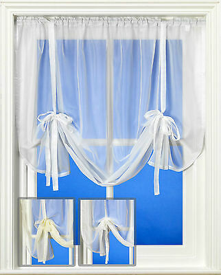 Plain Voile Tie Blind in White, Cream or Ivory