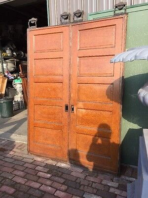 R D 18 One Pair Pine Raise Panel Pocket Doors Woodgrainantique
