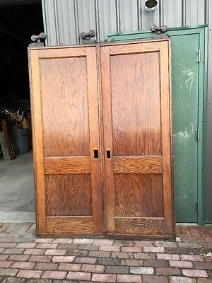 Rd 19 One Pair Antique Flat Panel Oak Pocket Doors