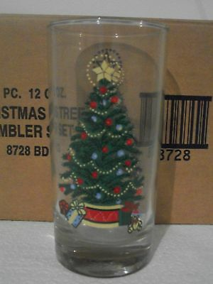 4 HOME INTERIORS HOMCO CHRISTMAS TREE GLASSES TUBBLER