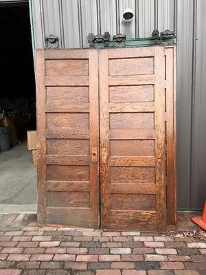 Rd 21 One Pair Flat Panel Pocket Doors Antique Oak