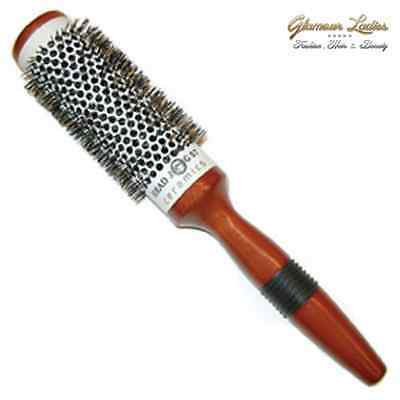 Head Jog 58 Hair Brush Ceramic Radial Professional Quality, Wooden Handle