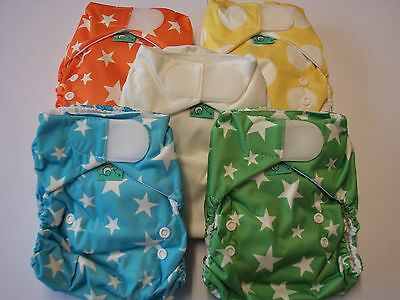 TotsBots Easyfit Bamboo Reusable Nappy, Birth to Potty, Rainbow (Asstd) 5 Pack