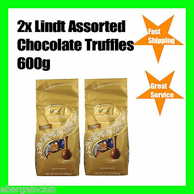 2x Lindt Assorted Chocolate Balls Truffles 600g 5 Flavour Total 1.2kg ~ 100 Ball