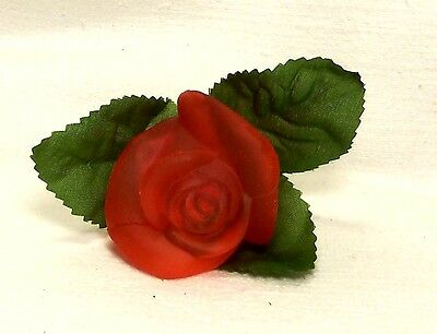 Valentine~2001 Old World CHRISTmas~Red Rose Bud~Blown Glass Light Cover~Taiwan