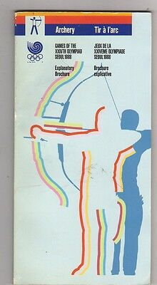 Orig.Complete PRG    XXIV.Olympic Games SEOUL 1988 - ARCHERY  !!   VERY RARE