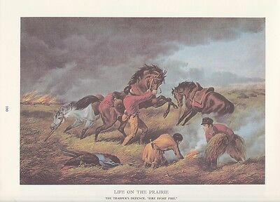 """1978 Vintage /""""TRAPPERS DEFENSE FIRE FIGHT FIRE/"""" CURRIER /& IVES COLOR Lithograph"""