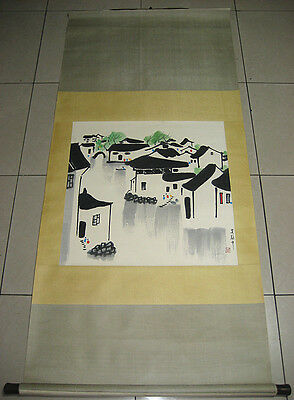 Excellent Chinese Hand Painting Vallage By Wu Guanzhong 吳冠中